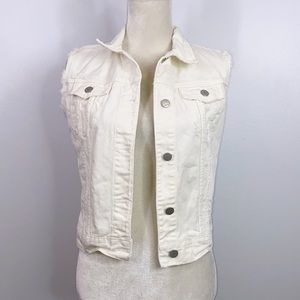 J brand white distressed denim vest sleeveless S